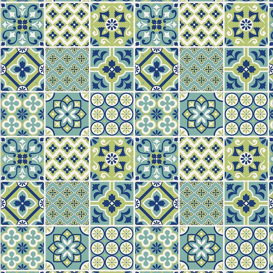 Papel de Parede Azulejos Ladrilhos Geométrico Adesivo P883