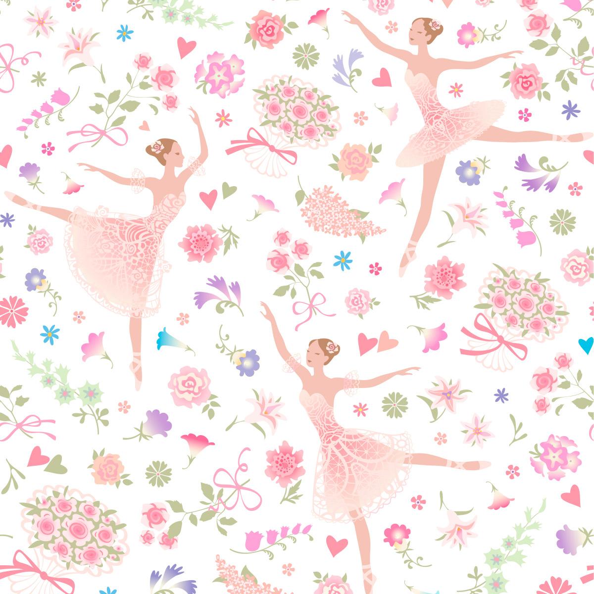 Papel de Parede Bailarina Floral Buquê Love Kids Adesivo