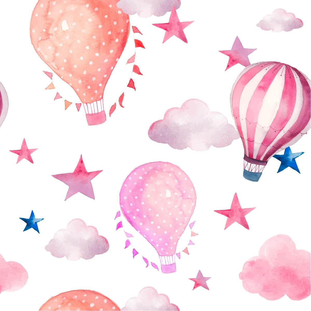 Papel de Parede Balão Nuvens Estrelas Kids Adesivo