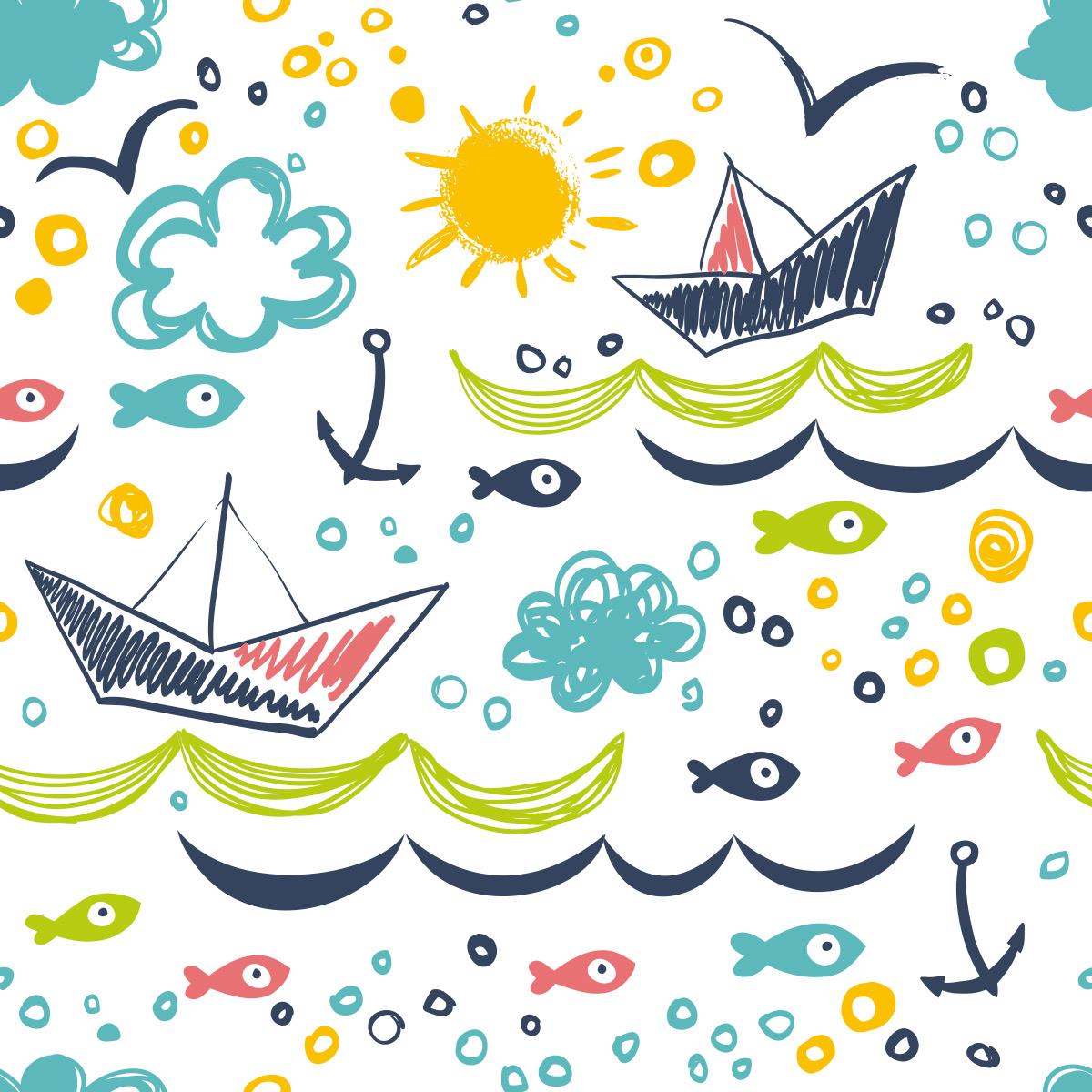 Papel de Parede Barquinho Infantil Peixes Mar Adesivo