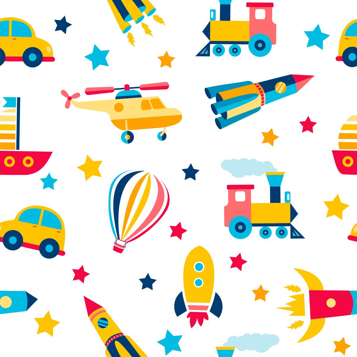 Papel de Parede Brinquedos Bebê Balão Foguetes Estrelas Adesivo