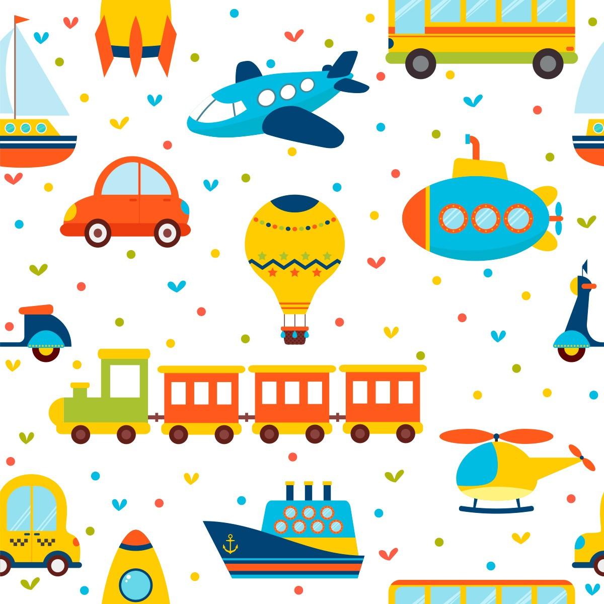 Papel de Parede Brinquedos Kids Balão Trenzinho Foguetes Adesivo