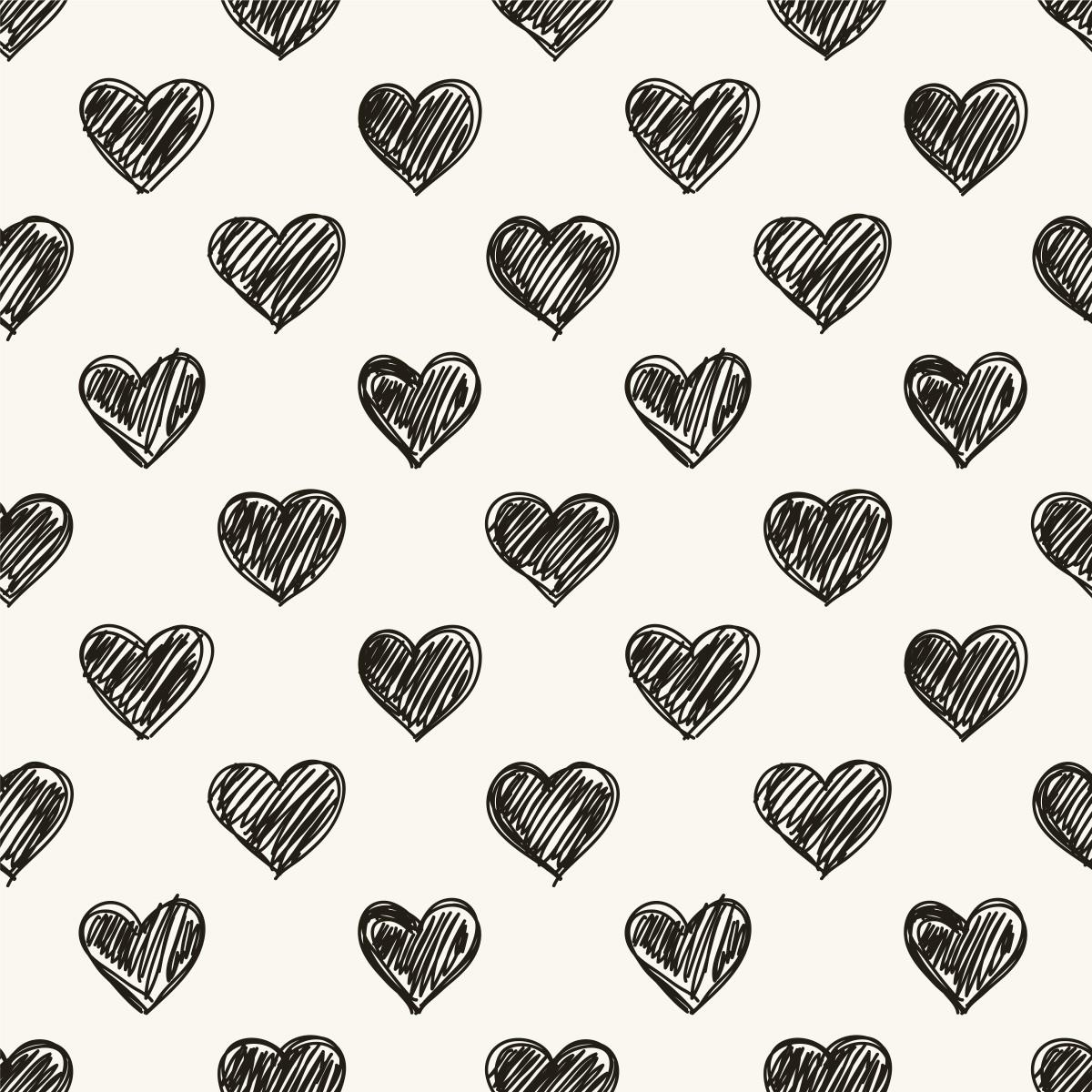Papel de Parede Corações Desenho Caneta Love Adesivo