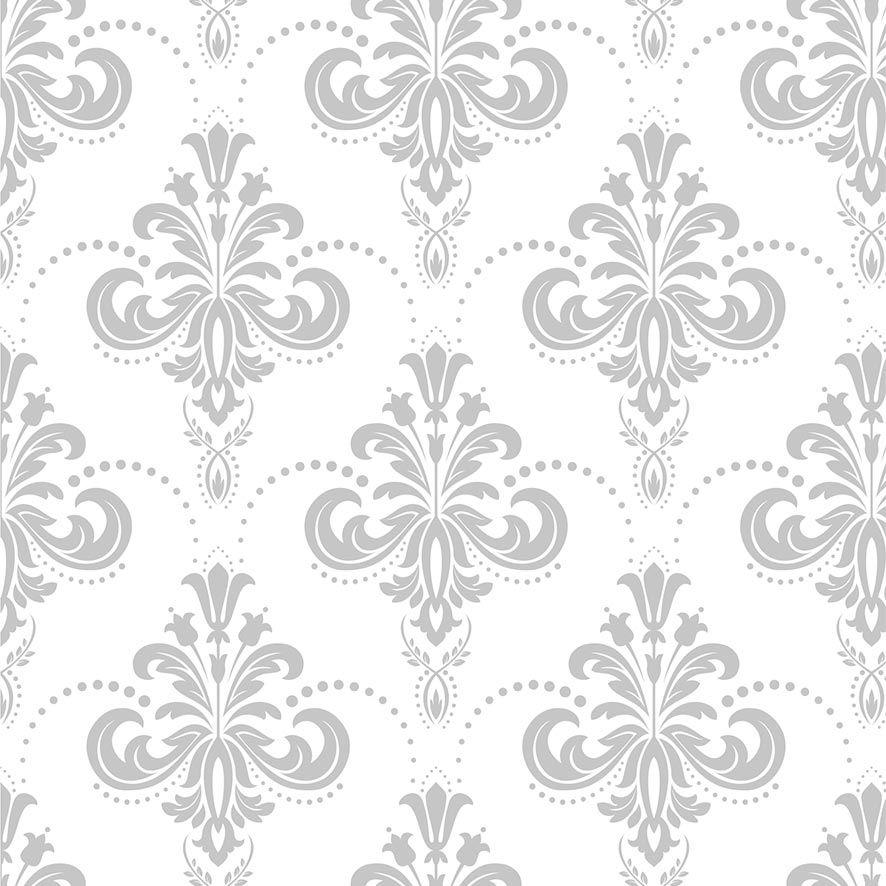 Papel de Parede Damask Árabe Floral Glamour Adesivo P841