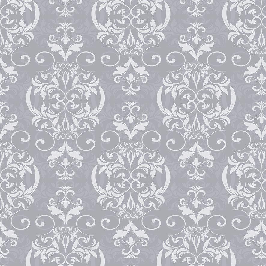 Papel de Parede Damask Floral Glamour Tom Cinza Adesivo P849