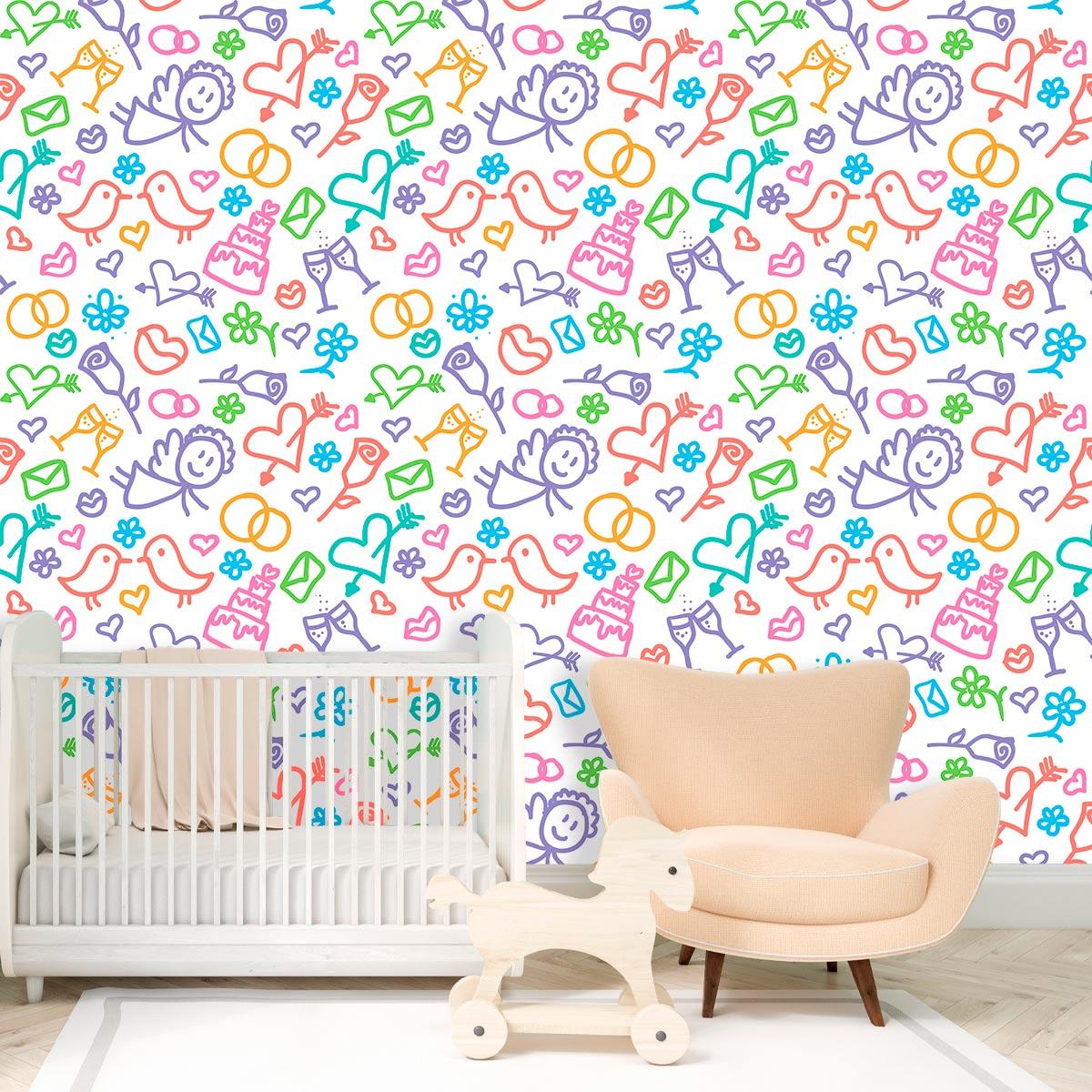 Papel de Parede Desenhos Flores Coração Bolos Infantil Adesivo