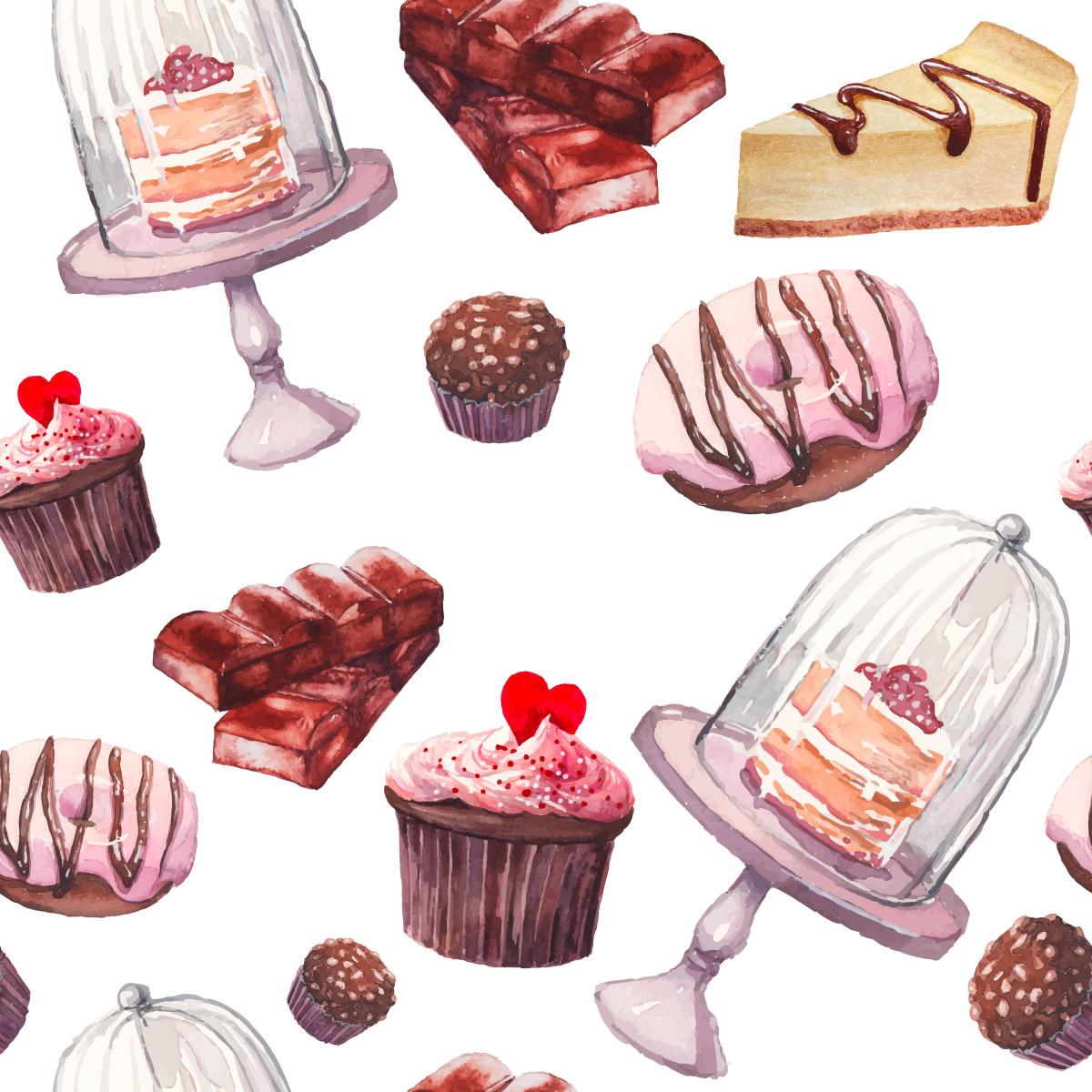Papel de Parede Doces Bolo Cupcake Tortas Adesivo
