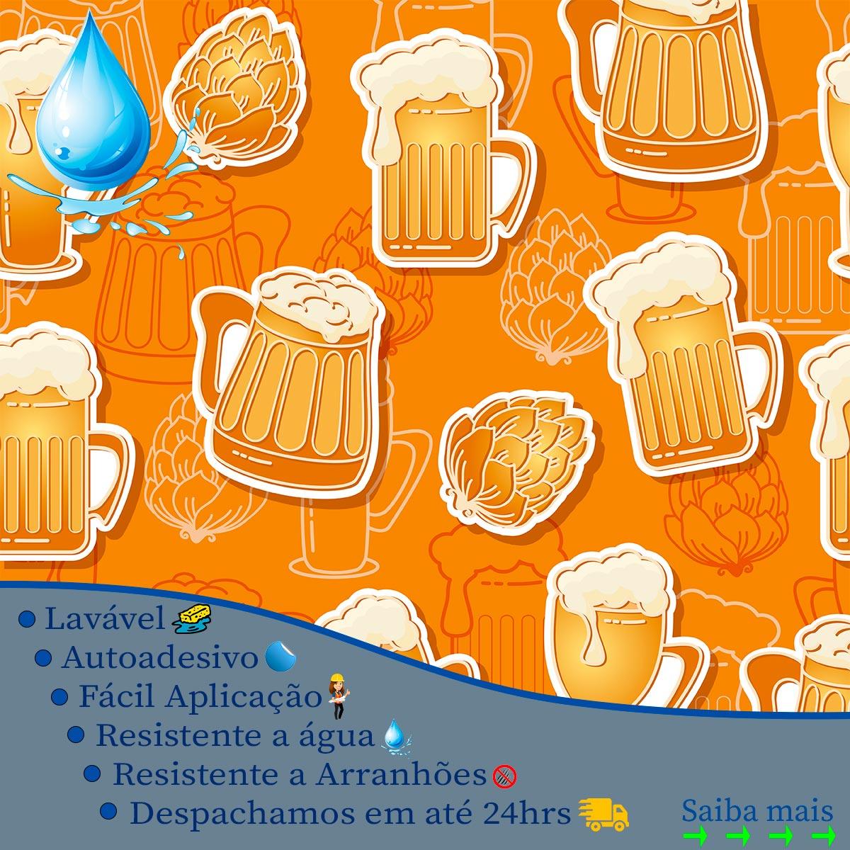 Papel de Parede Drink Beer Chopp Barzinho Adesivo
