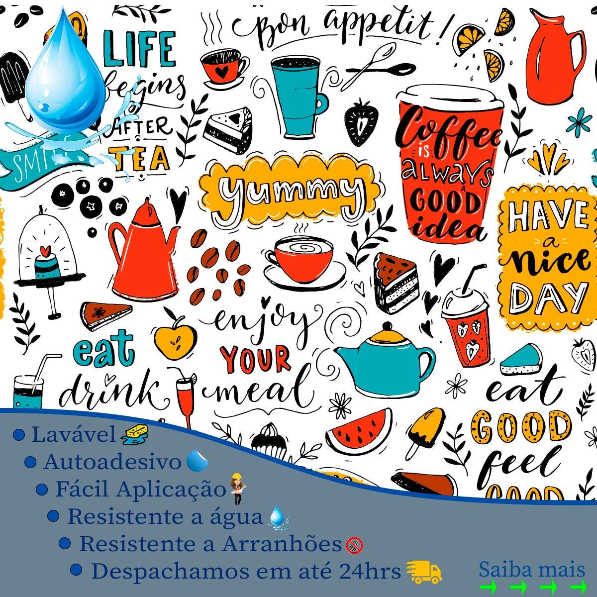 Papel de Parede Drink Coffee Food Adesivo