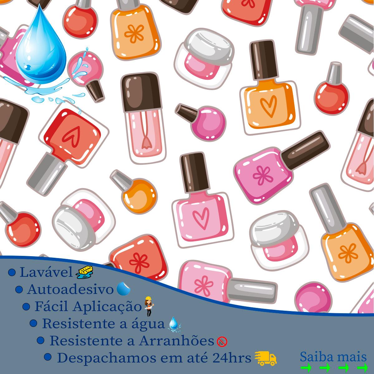 Papel de Parede Esmalteria Esmaltes Coloridos Adesivo