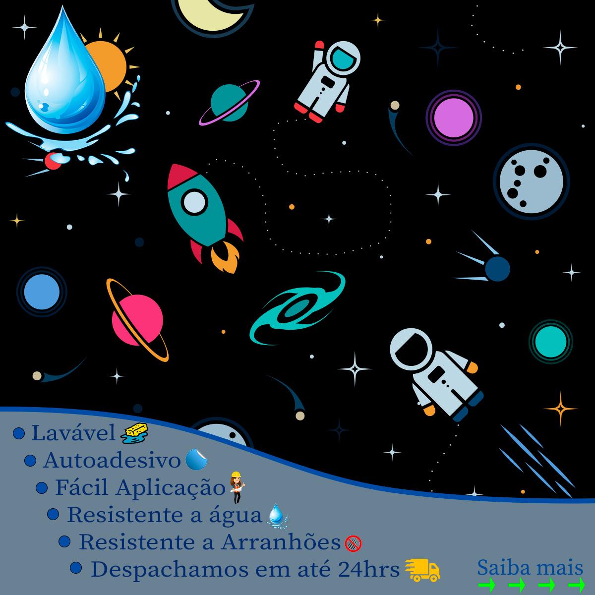 Papel de Parede Espaço Astronautas Planetas Kids Adesivo