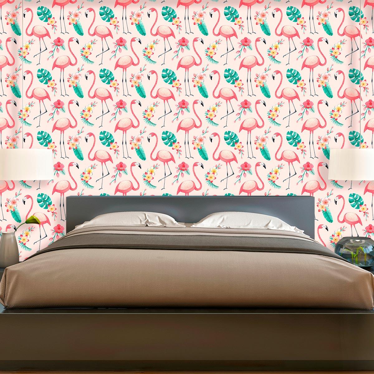 Papel de Parede Flamingo Floral Folhas Tropical Adesivo