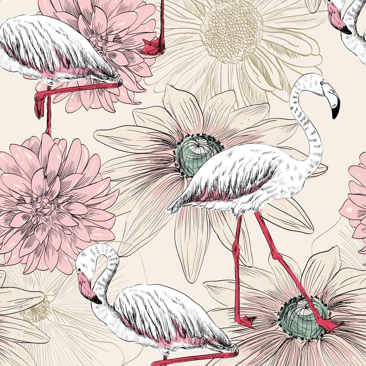 Papel de Parede Flamingo Flores Rosas Luxo Adesivo