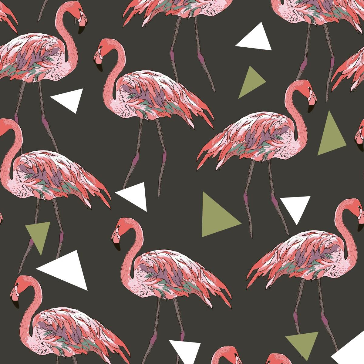 Papel de Parede Flamingo Geométrico Triângulos Adesivo