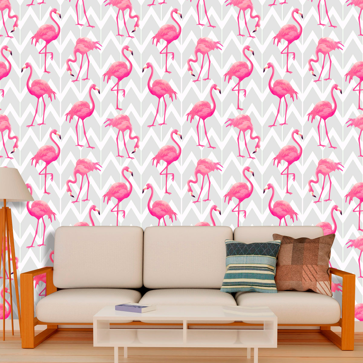 Papel de Parede Flamingos Chevron Zig Zag Adesivo