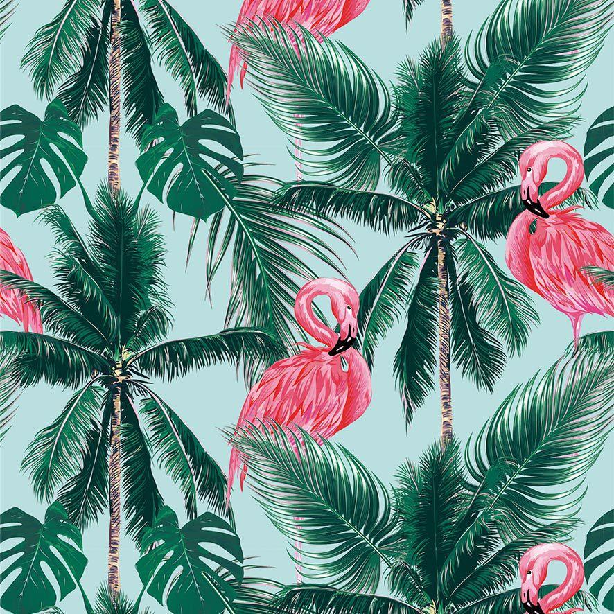 Papel de Parede Flamingos Tropical Coqueiros Adesivo P874