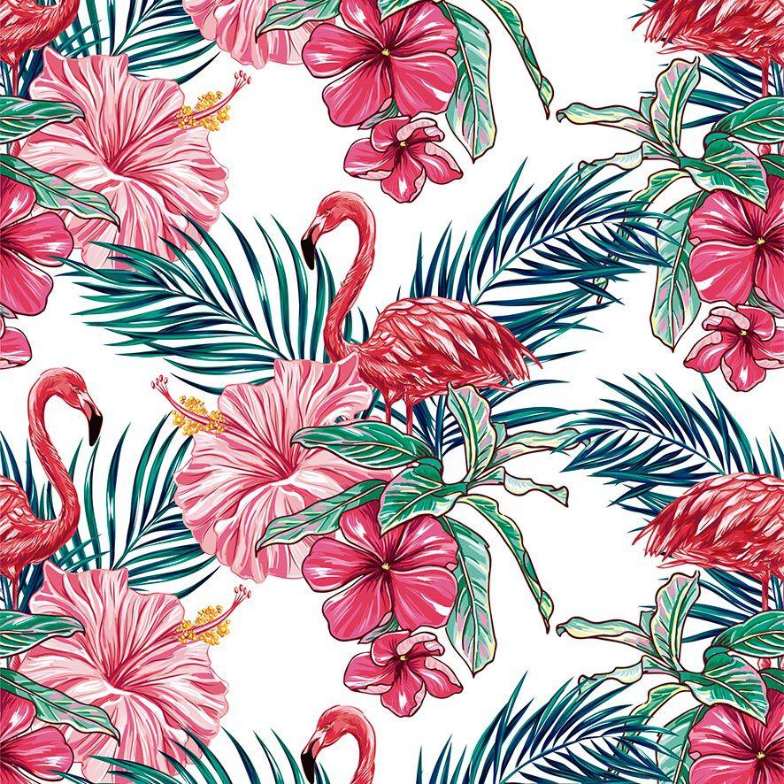 Papel de Parede Flamingos Tropical Flores Rosas Adesivo P847