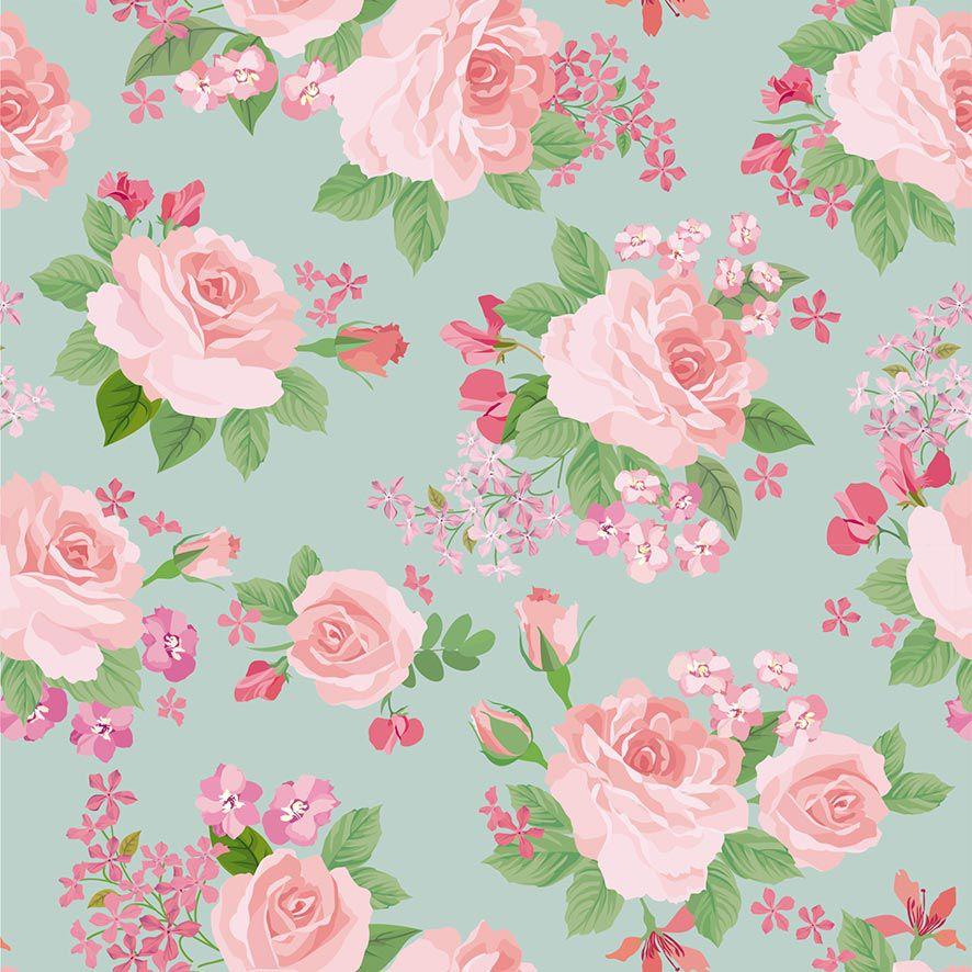 Papel de Parede Floral Aquarela Boquê Rosas Adesivo P876