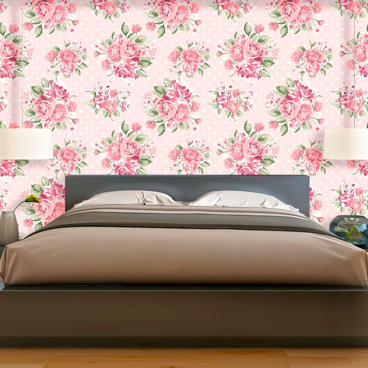 Papel de Parede Floral Buquê de Flores Rosas Poa Adesivo