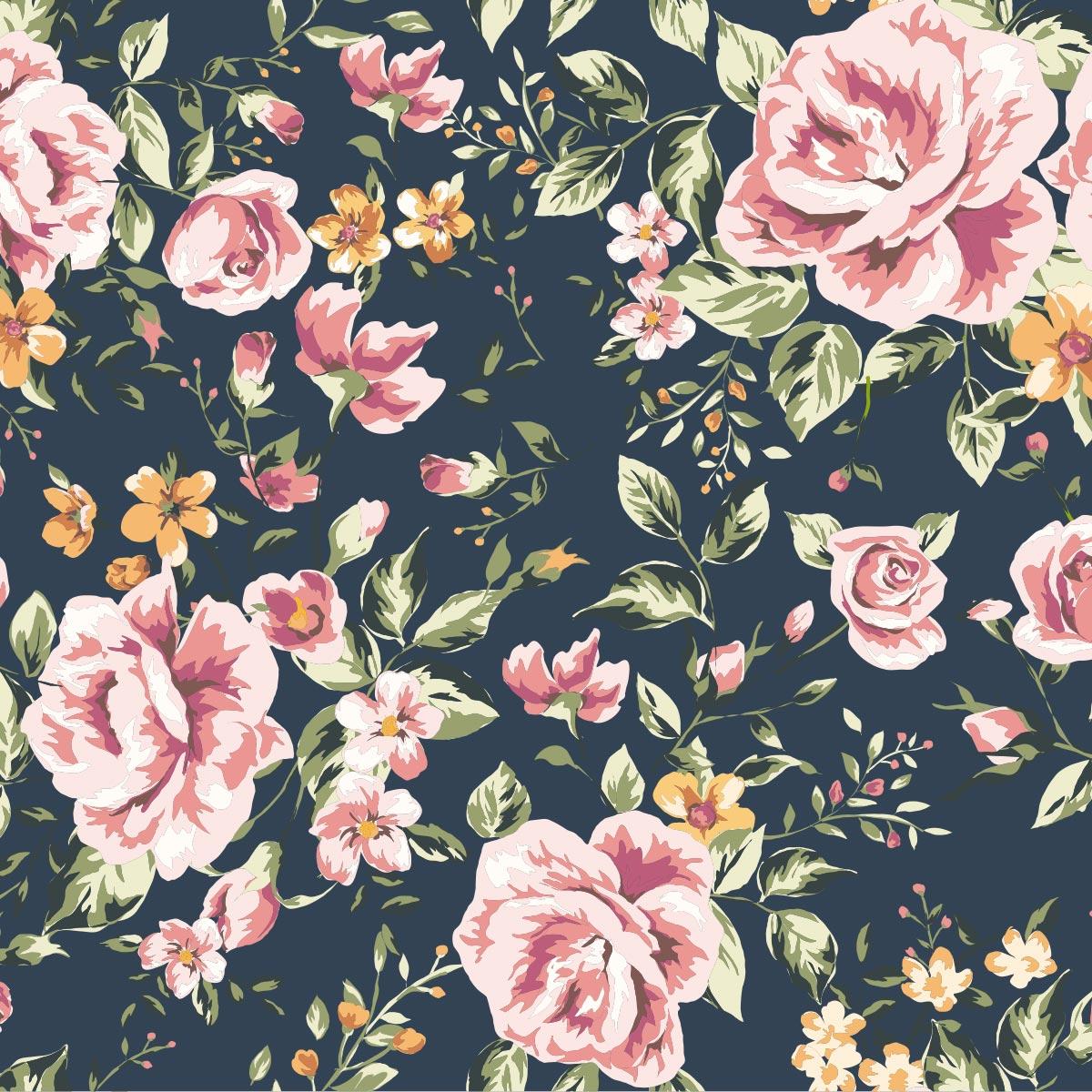 Papel de Parede Floral Flores Rosas Glamour Adesivo