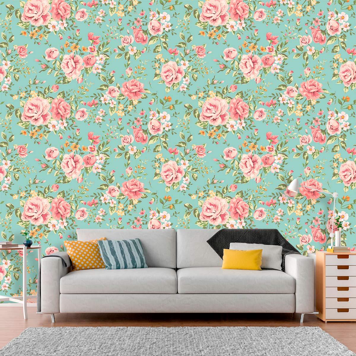 Papel de Parede Floral Flores Rosas Luxo Adesivo