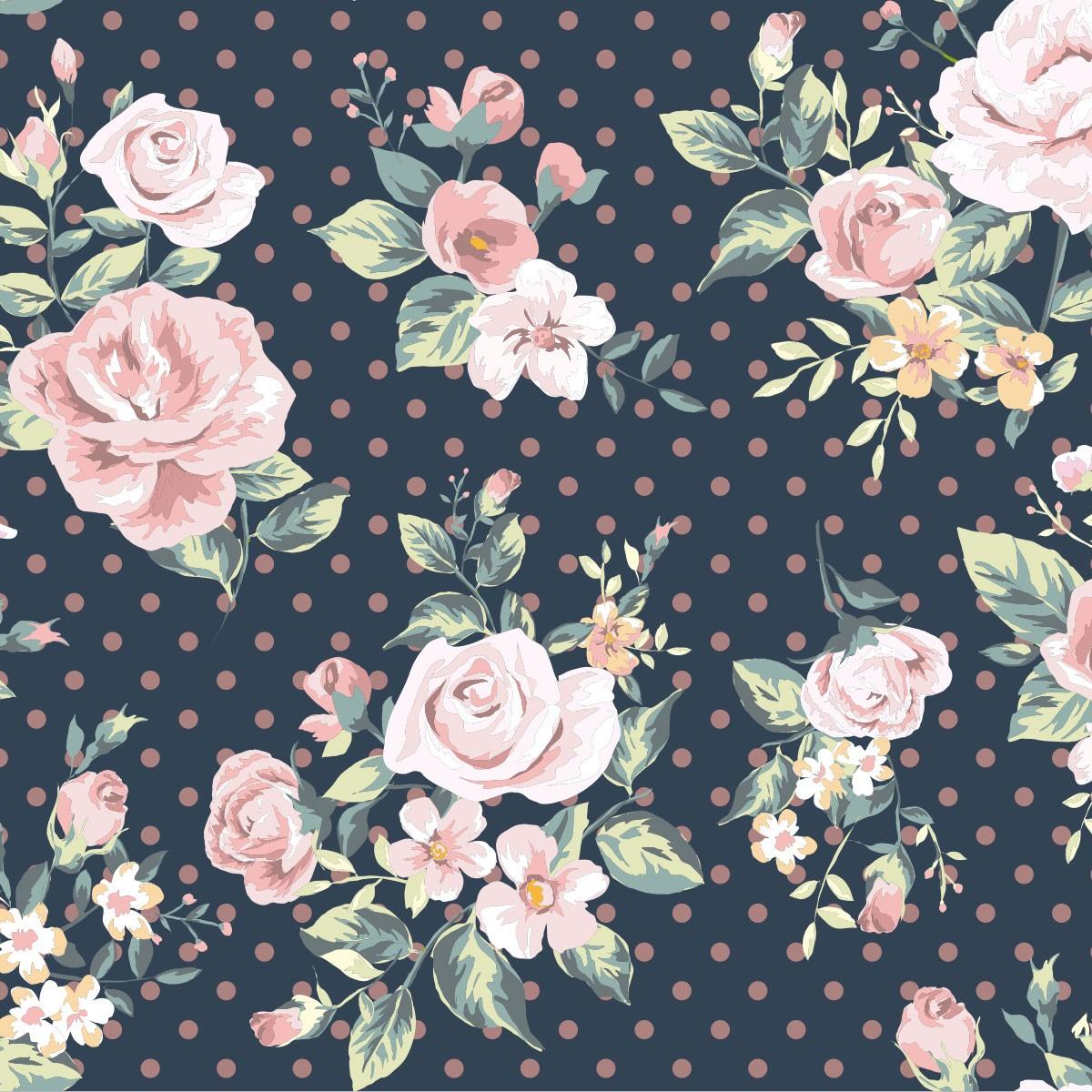 Papel de Parede Floral Flores Rosas Poa Adesivo