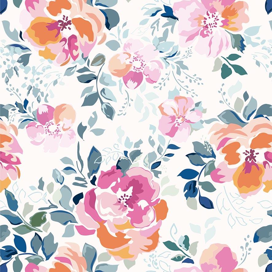 Papel de Parede Floral Folhas Aquarela Glamour Adesivo P890
