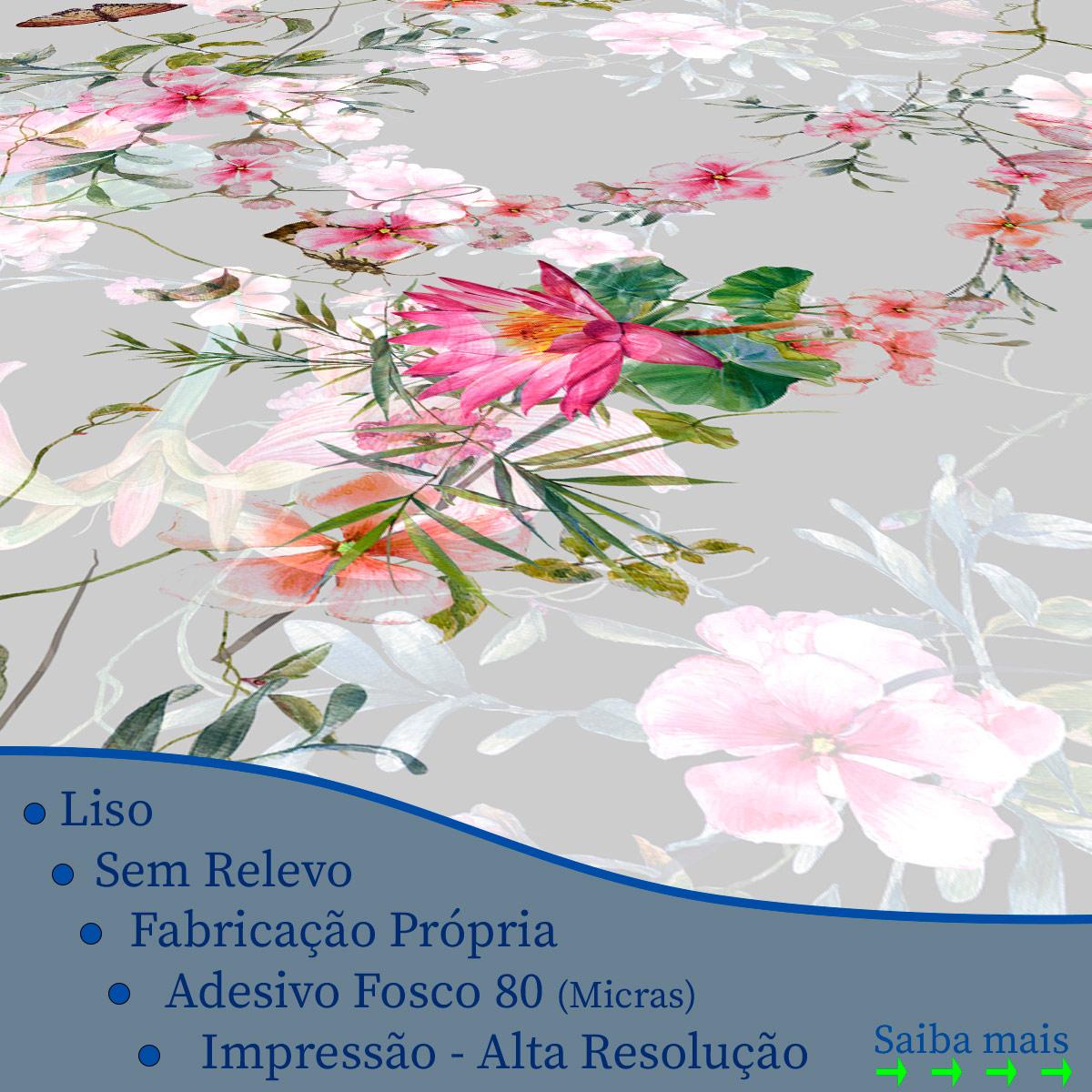 Papel de Parede Floral Galhos Flores Borboleta Adesivo