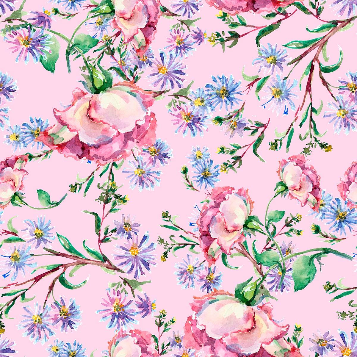 Papel de Parede Floral Galhos Flores Rosas Adesivo