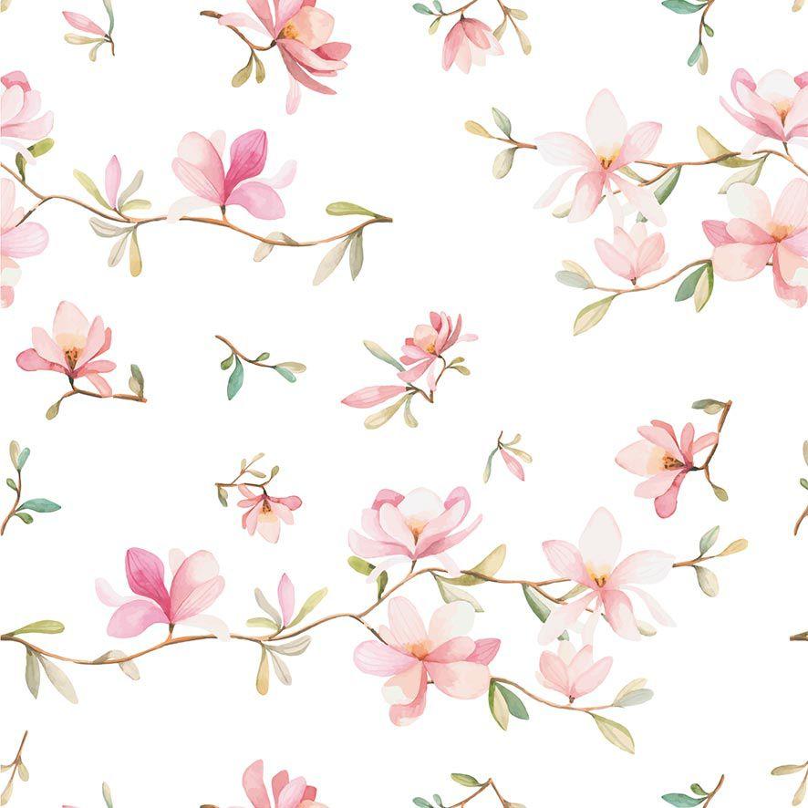 Papel de Parede Floral Galhos Flores Rosas Glamour Adesivo P867