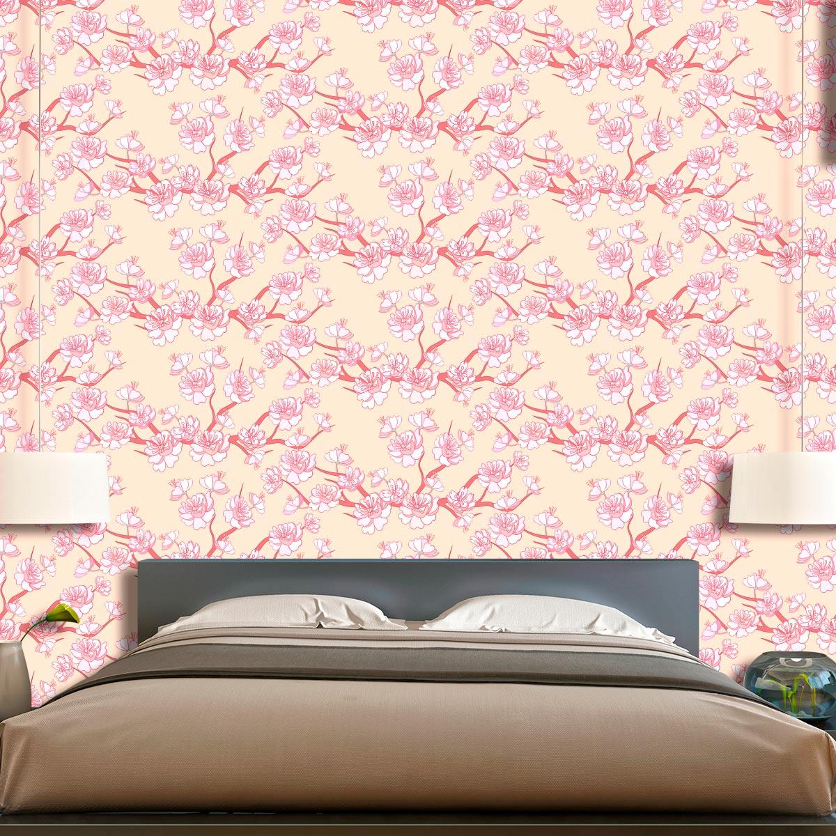 Papel de Parede Floral Galhos Flores Rose Glamour Adesivo