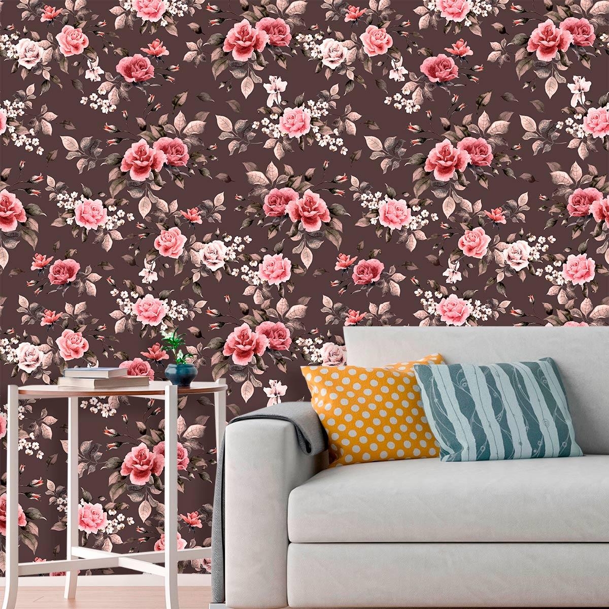 Papel de Parede Floral Glamour Flores Rosas Folhas Adesivo