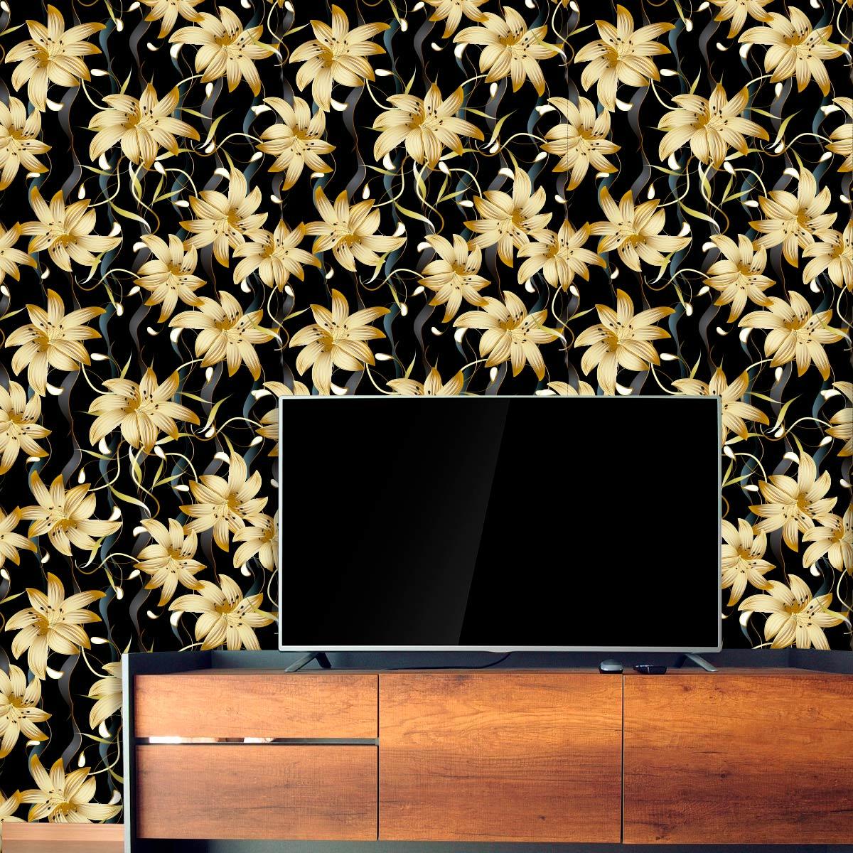 Papel de Parede Floral Gold Galhos Adesivo