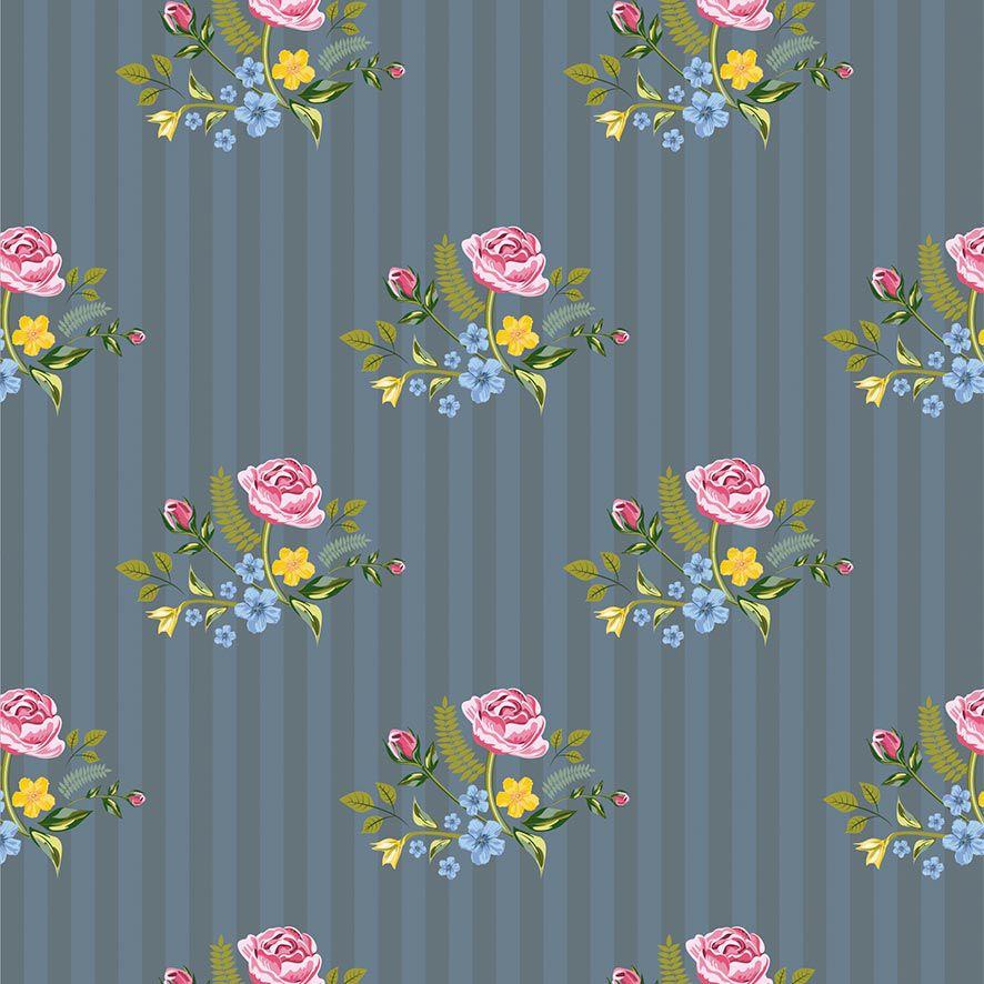 Papel de Parede Floral Listrado Rosas Folhas do Campo Adesivo P853