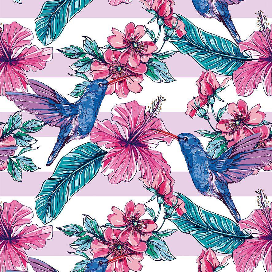 Papel de Parede Floral Listrado Tropical Beija Flor Adesivo P844