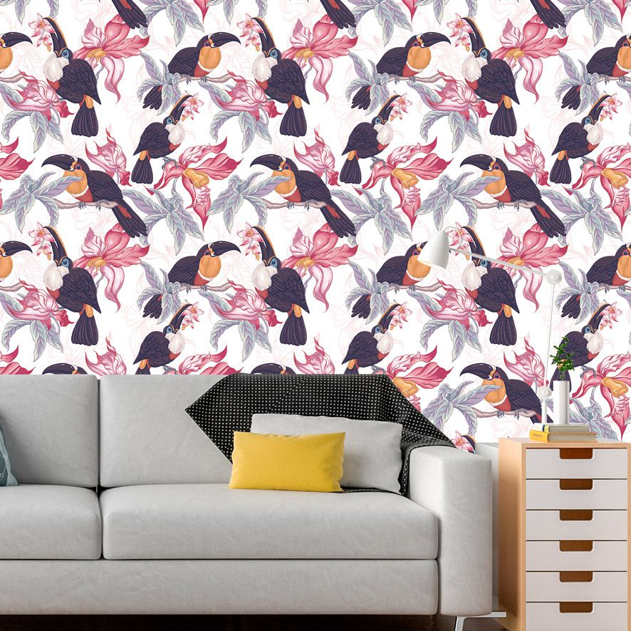 Papel de Parede Floral Pássaros Tropical Glamour Adesivo P840