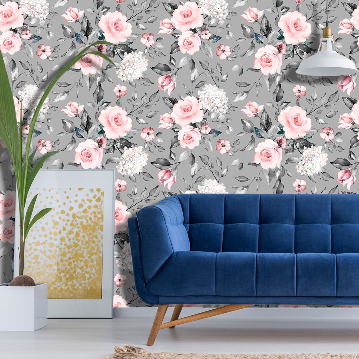 Papel de Parede Floral Rosas Branca Glamour Adesivo