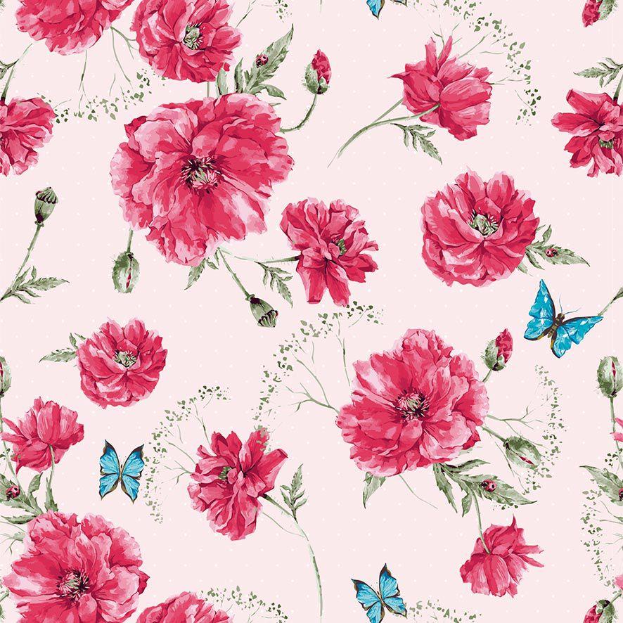 Papel de Parede Floral Rosas Brotos Borboletas Adesivo P845