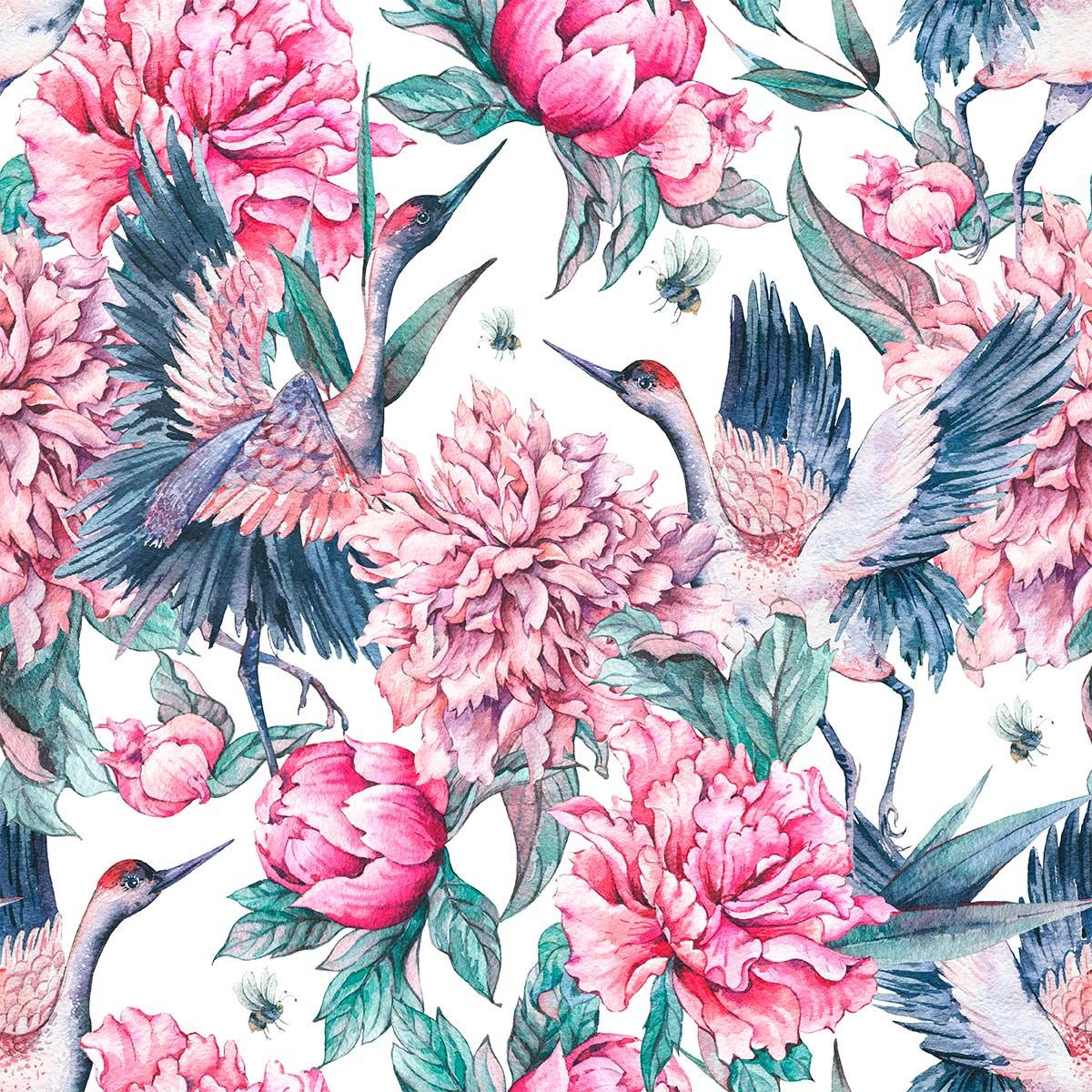 Papel de Parede Floral Rosas Folhas Aves Tropical Adesivo
