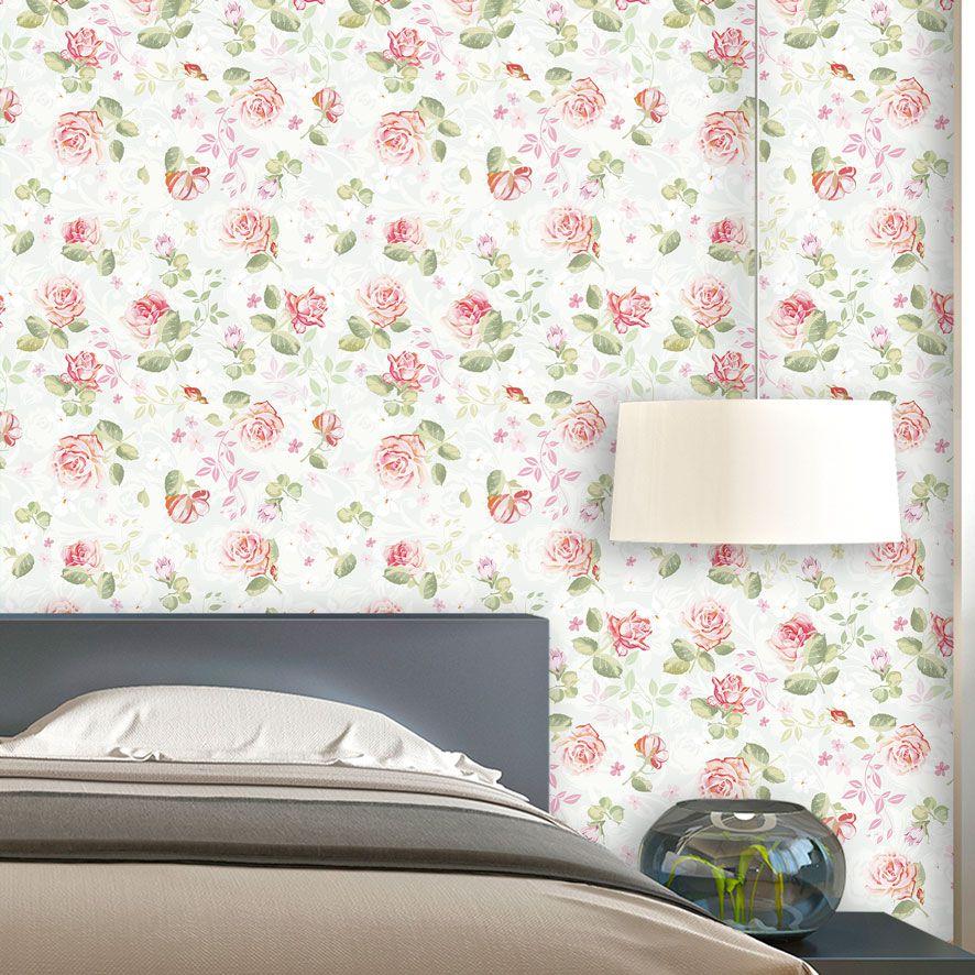Papel de Parede Floral Rosas Galhos Arabesco Glamour Adesivo P862