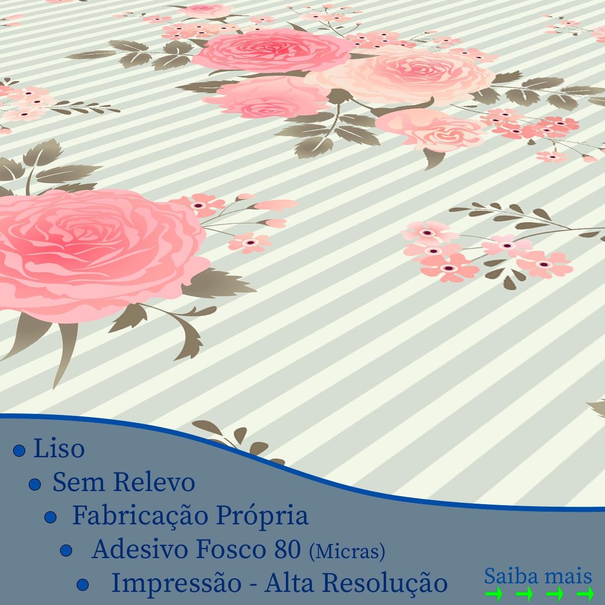 Papel de Parede Floral Rosas Listrado Adesivo