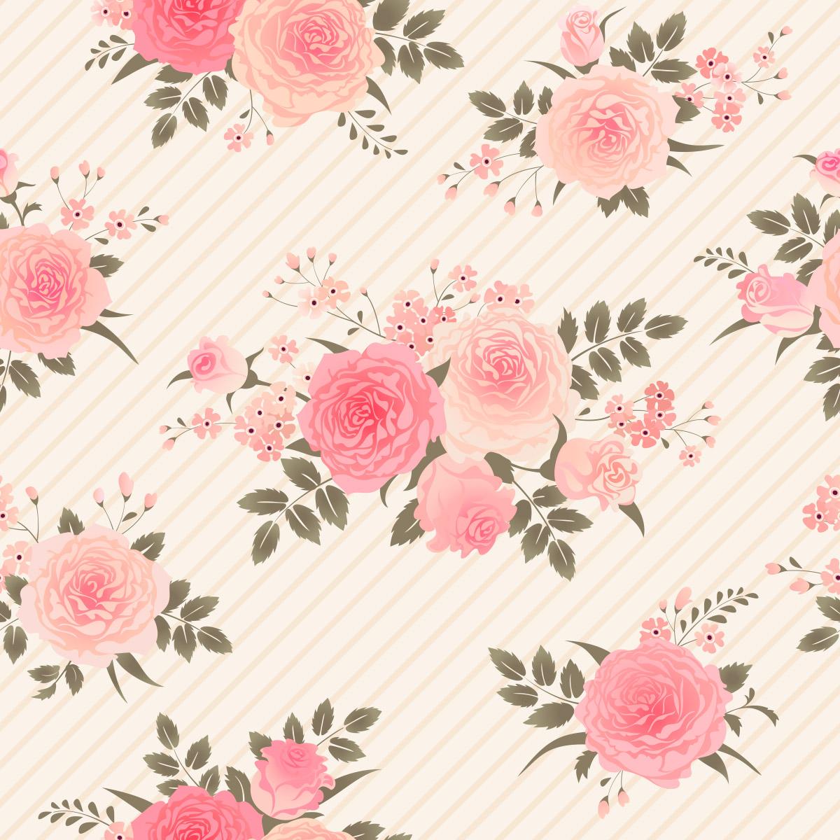 Papel de Parede Floral Rosas Listrado Folhas Adesivo