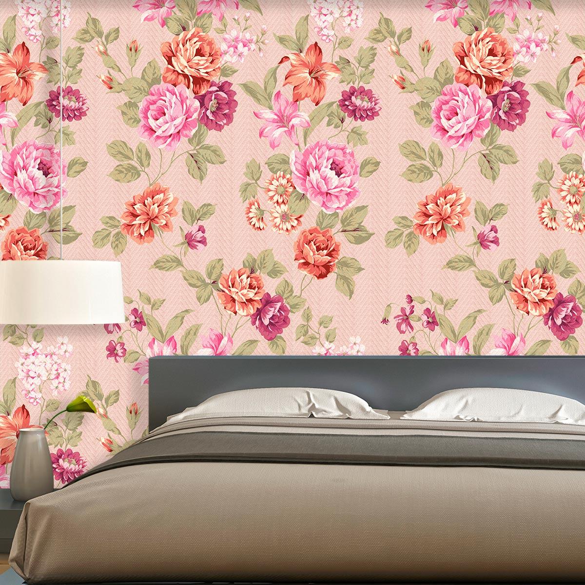 Papel de Parede Floral Rosas Tons Rosa Laranja Lilas Adesivo