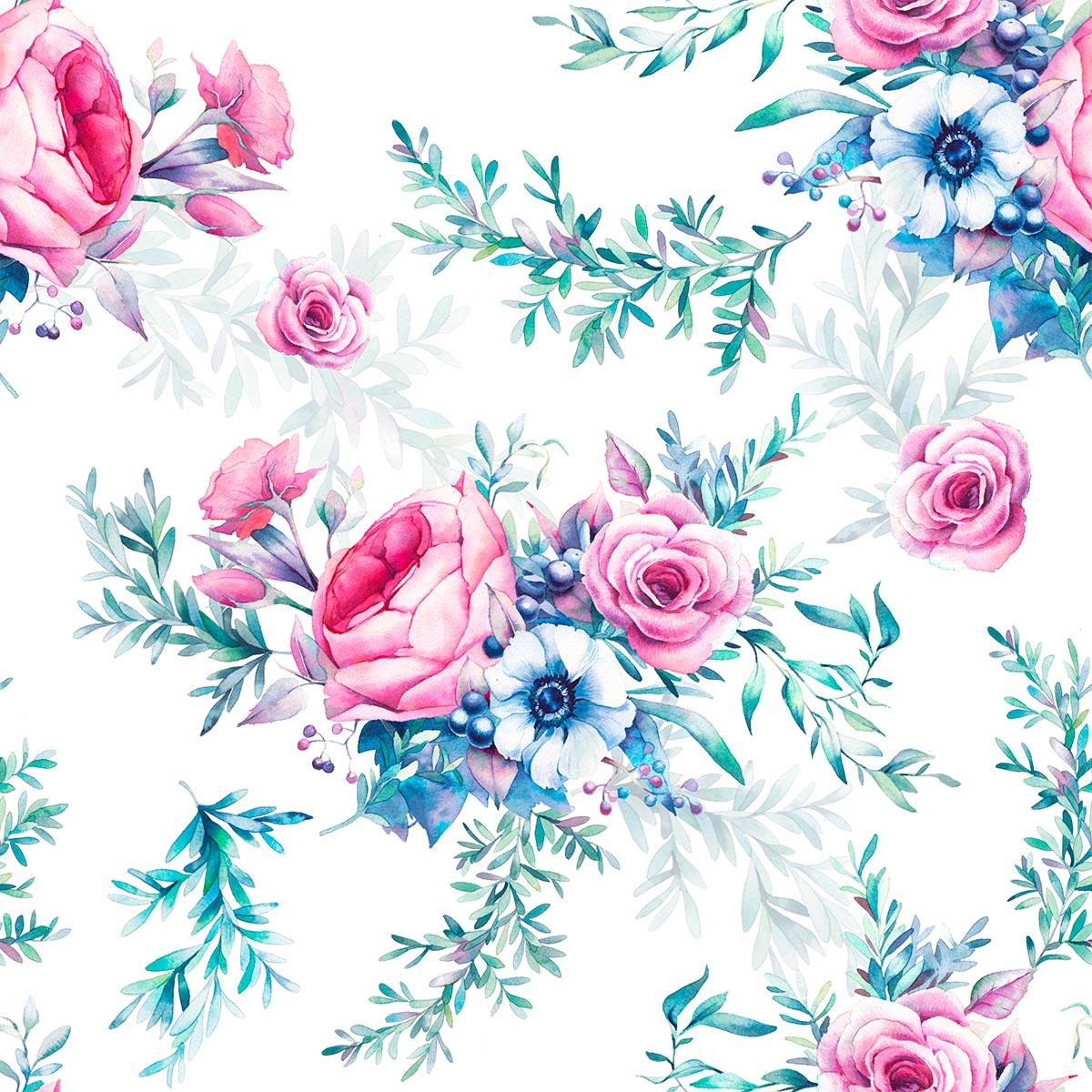 Papel de Parede Flores Rosas Galhos Folhas Buquê Adesivo