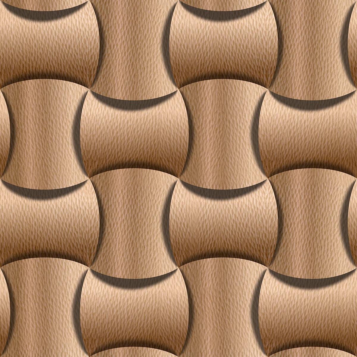 Papel de Parede Geométrico 3D Aspecto Couro Zig Zag Adesivo