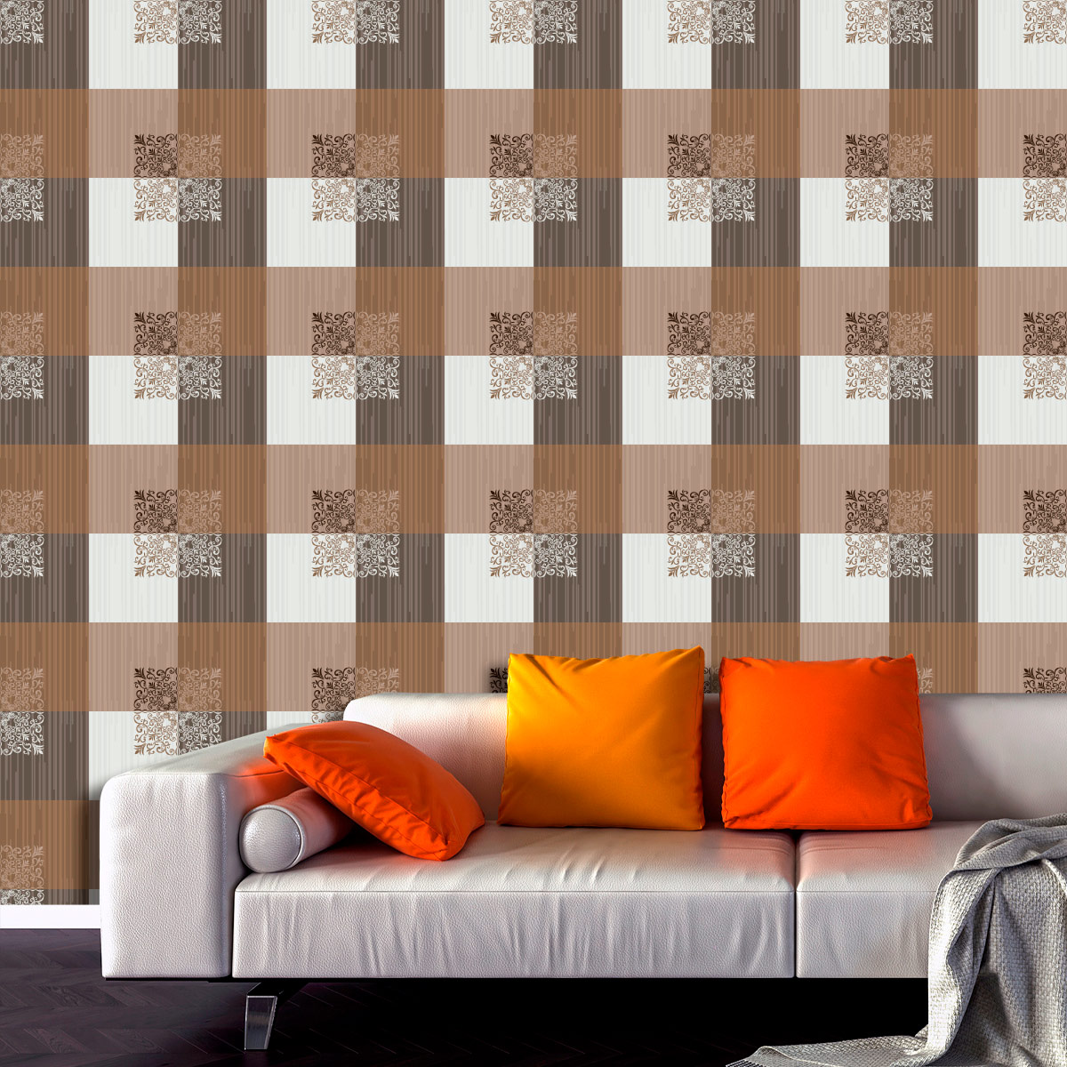 Papel de Parede Geométrico Quadrados Glamour Adesivo