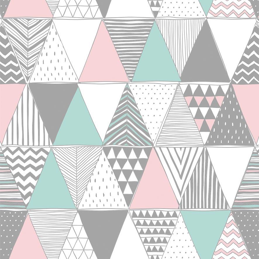 Papel de Parede Geométrico Triângulos Colorido Adesivo P881