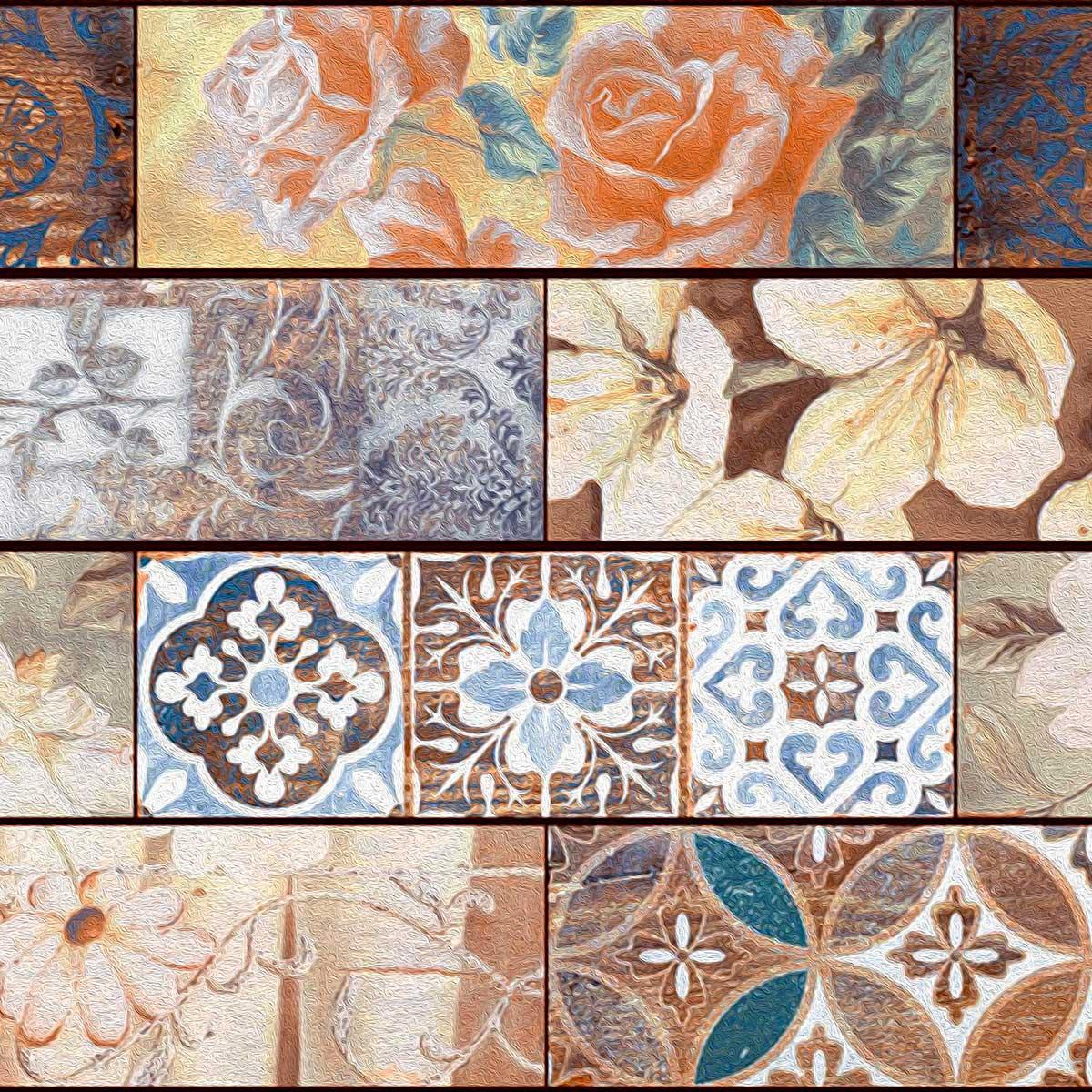 Papel de Parede Ladrilho Vintage Floral Retângular Adesivo
