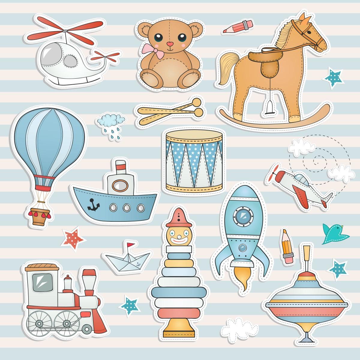 Papel de Parede Listrado Brinquedos Bebê Trenzinho Adesivo