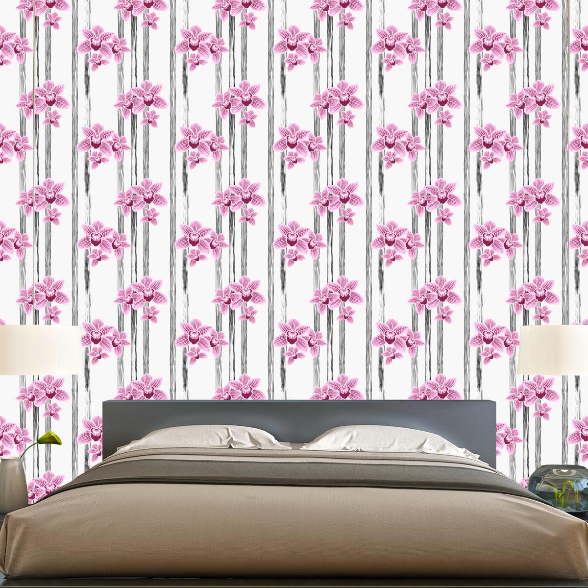 Papel de Parede Listrado Floral Rosa Luxo Adesivo